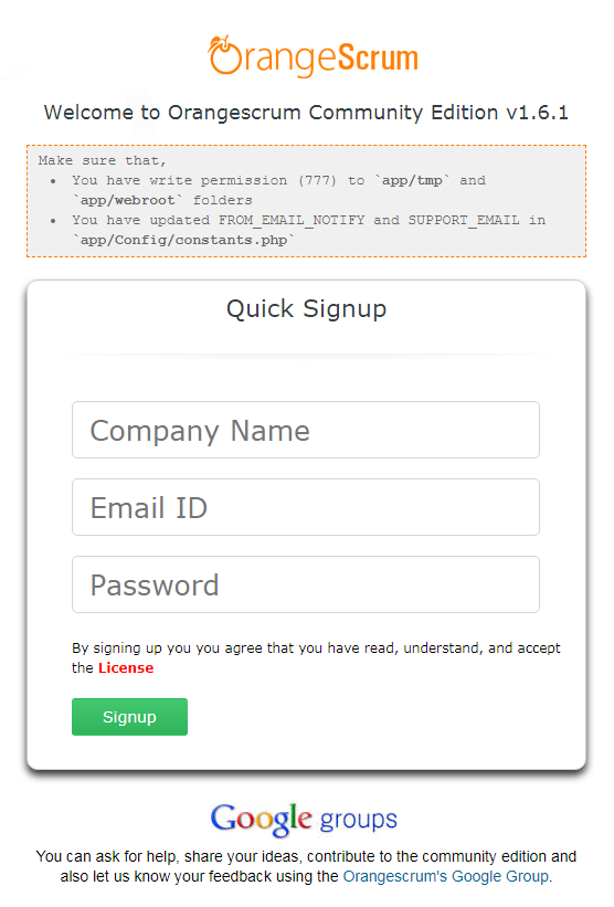 Orangescrum Quick Signup