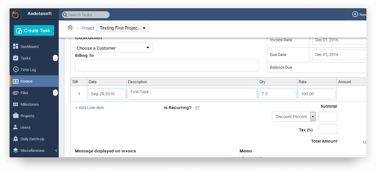 Customized Invoicing