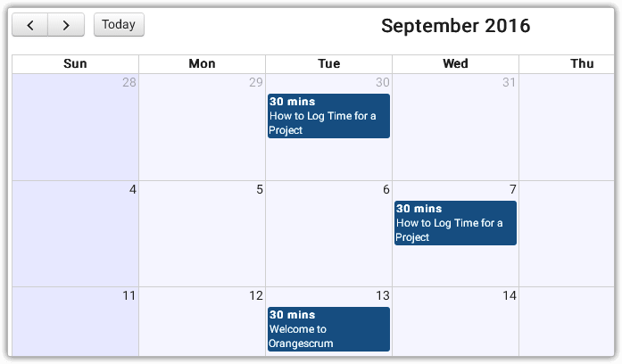 Time Log Calendar View